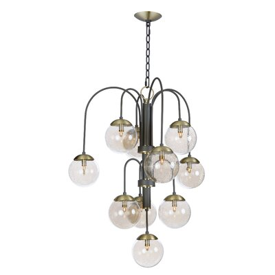 Causeway 10-Light Shaded Chandelier Bulb Type: G9 LED, Finish: Textured Bronze/Satin Brass