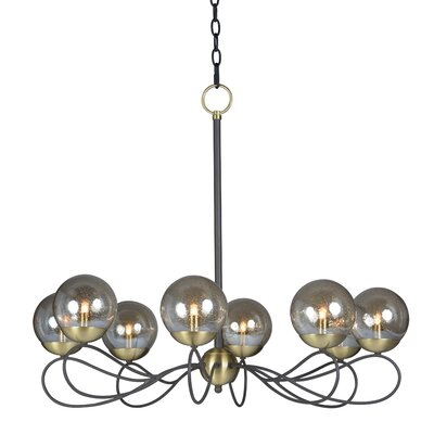 Causeway 8-Light Candle-Style Chandelier Bulb Type: G9 LED, Finish: Textured Bronze/Satin Brass