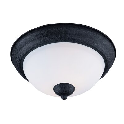 Caves 2-Light Flush Mount Finish: Textured Black, Size: 5.5 H x 11.25  W x 11.25 D