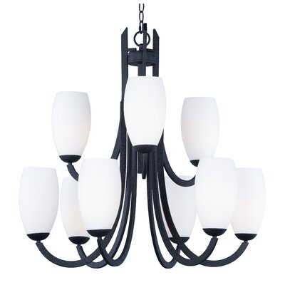 Caves 9-Light Shaded Chandelier Finish: Textured Black