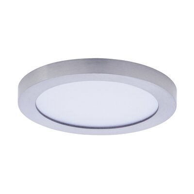 Adamsburg 1-Light LED Flush Mount Fixture Finish: Satin Nickel, Size: 1.5 H x 5 W x 5 D