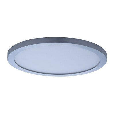 Adamsburg LED 1-Light Glass Flush Mount Finish: Satin Nickel, Size: 0.5 H x 10 W x 10 D