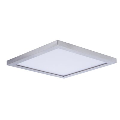 Adamsburg 1-Light LED Flush Mount Fixture Finish: Satin Nickel, Size: 1.5 H x 9 W x 9 D