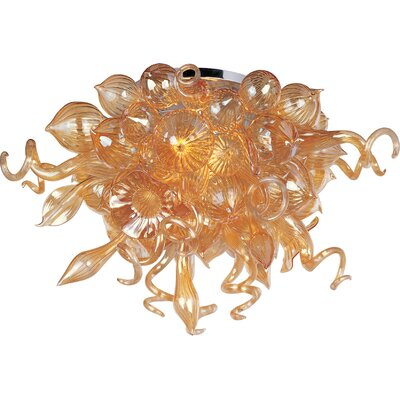 Mimi LED 12-Light Semi-Flush Mount Shade Color: Cognac