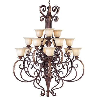 Morrison Contemporary 15-Light Shaded Chandelier