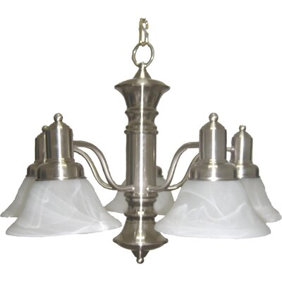 Newburg 5-Light Shaded Chandelier Finish: Satin Nickel with Marble Shade