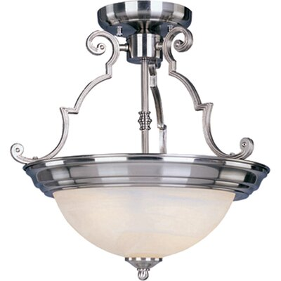 Tennant 2-Light Bowl Pendant Finish: Satin Nickel, Shade Color: Marble