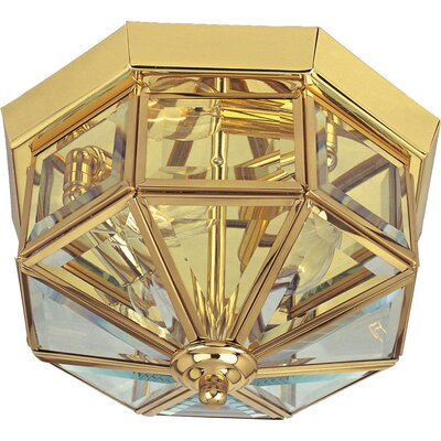"Flush Mount in Country Stone Finish: Polished Brass, Size: 7"" H x 12"" W"