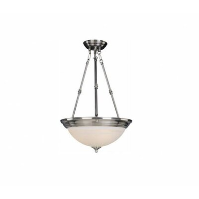 Maineville 3-Light Invert Bowl Pendant Finish/Shade Color: Marble/Satin Nickel