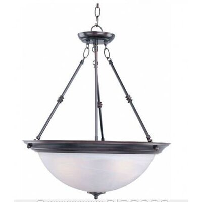 Essentials 3-Light Invert Bowl Pendant Shade/Finish: Marble/Oil Rubbed Bronze