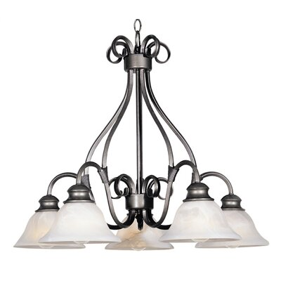 Wildon Home Seawind 5 - Light Single - Tier Chandelier - Finish: Pewterwith Marble Shade