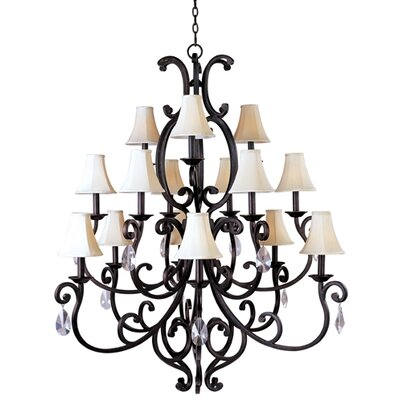 Wiltse Traditional 15-Light Shaded Chandelier Shades: Yes