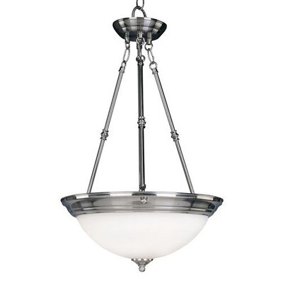 Essentials 3-Light Invert Bowl Pendant Shade/Finish: Marble/Satin Nickel