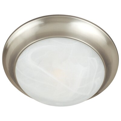 Flair EE 2-Light Flush Mount Finish: Satin Nickel, Size: 5 H x 17 W