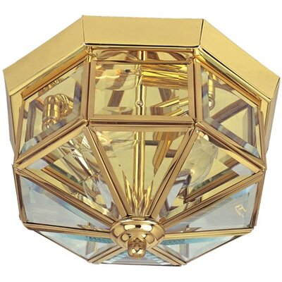 "Flush Mount in Country Stone Finish: Polished Brass, Size: 6"" H x 10"" W"
