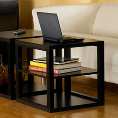 Cheap Convenience Concepts Northfield End Table with Bottom Shelf in Black Wood Grain (CVC1066)