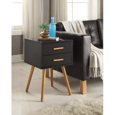 Phoebe End Table With Storage Color: Black