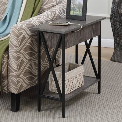 Abbottsmoor End Table With Storage Color: Weathered Gray