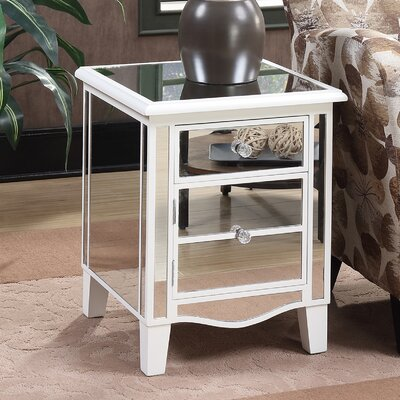 Tarra Park Lane Mirrored End Table Finish: White