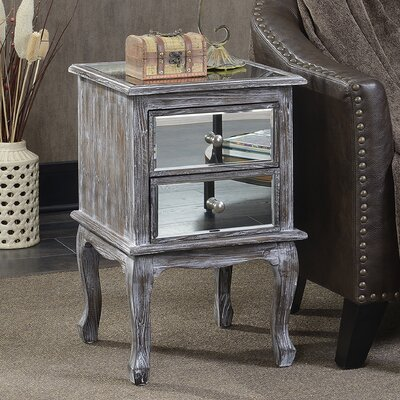 Romig 2 Drawer Mirrored End Table Color: Weathered Gray