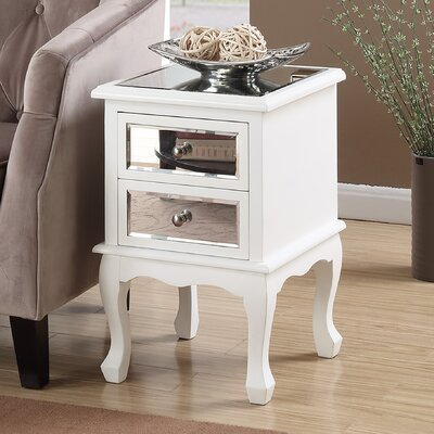 Romig 2 Drawer Mirrored End Table Color: White