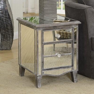 Romarin Mirrored End Table Color: Weathered Gray/Mirror