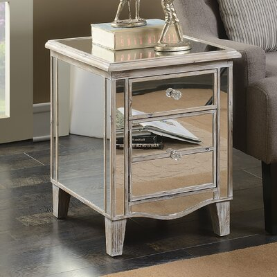 Tarra Park Lane Mirrored End Table Finish: Weathered White
