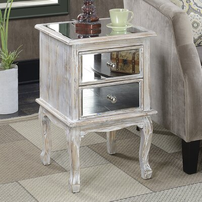 Mariah Queen Anne Mirrored End Table Finish: Weathered White