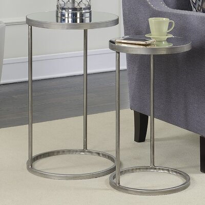 Wiscasset Round Mirrored 2 Piece Nesting Tables