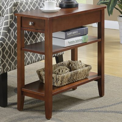 Lucile Three Tier End Table with Drawer Finish: Mahogany