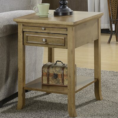 End Table With Storage Color: Antique Walnut