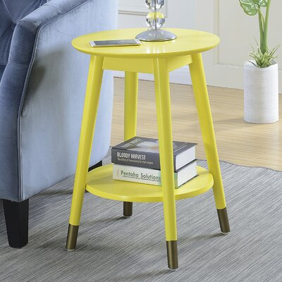 Boese Mid-Century Round End Table Color: Yellow