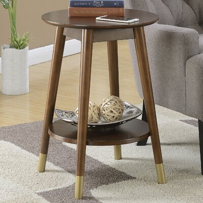 Boese Mid-Century Round End Table Color: Espresso
