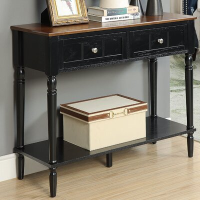 Callery 2 Drawer Console Table Finish: Dark Walnut/Black