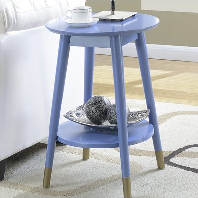Boese Mid Century Round End Table with Bottom Shelf