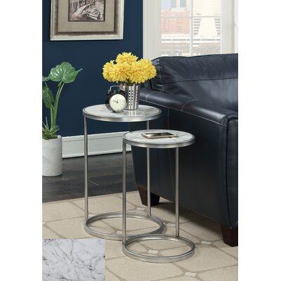 Claybrooks 2 Piece Nesting Tables Color: Silver