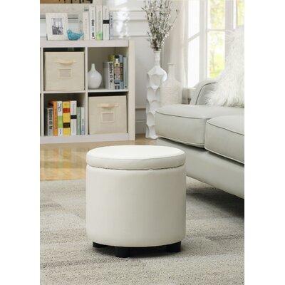 Garonzik Round Accent Storage Ottoman Upholstery: White