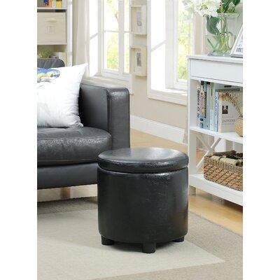 Garonzik Round Accent Storage Ottoman Upholstery: Black