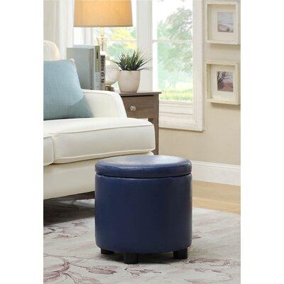 Garonzik Round Accent Storage Ottoman Upholstery: Blue