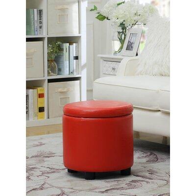 Garonzik Round Accent Storage Ottoman Upholstery: Red