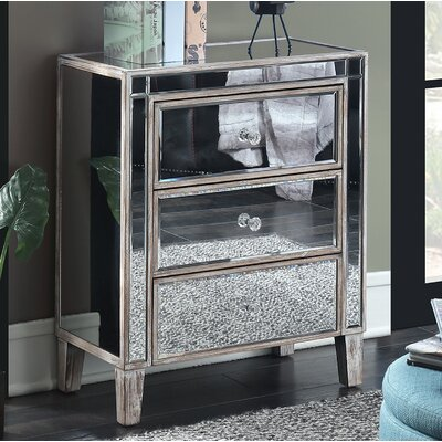 Claybrooks 3 Drawer Mirrored End Table with Storage Color: White