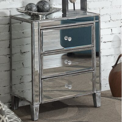 Claybrooks 3 Drawer Mirrored End Table with Storage Color: Gray