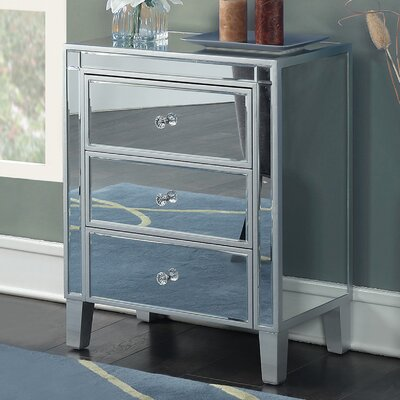 Claybrooks 3 Drawer Mirrored End Table with Storage Color: Silver