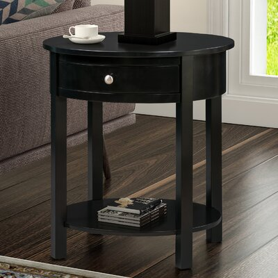 Bower Classic Accents Oval End Table with Storage Color: Black