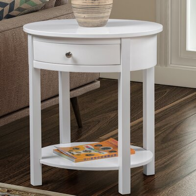 Moravian Classic Accents Oval End Table with Storage Color: White