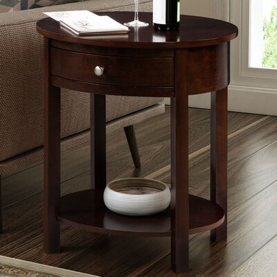 Moravian Classic Accents Oval End Table with Storage Color: Espresso