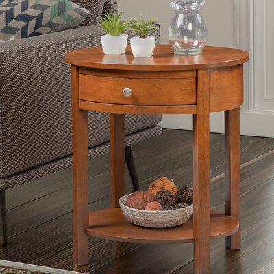 Bower Classic Accents Oval End Table with Storage Color: Chestnut