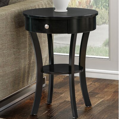Moravian Classic Accents End Table with Storage Color: Black