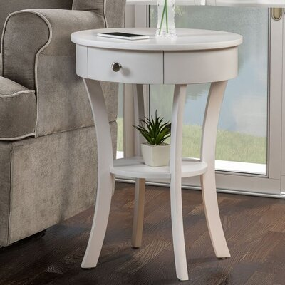 Moravian Classic Accents End Table with Storage Color: White