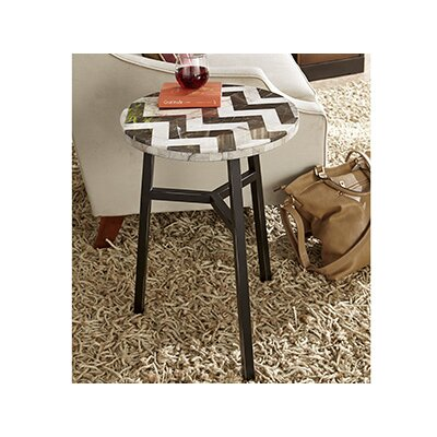Hunsinger Round Zig Zag Stone Top End Table